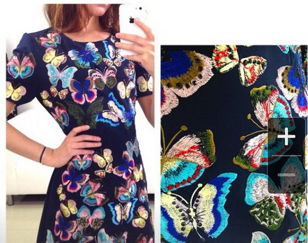 Платье с вышивкой бабочками