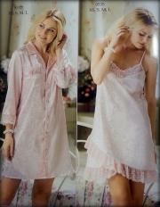04)  Рубашка-пеньюар и сорочка (527 000).Цвет-розовый и молочный
