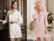 09) Рубашка-пеньюар на пуговицах. Молочный - XS, S, M, L. Розовый- XS, S, M