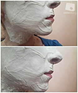 Белая маска (сверху - сразу после нанесения,ниже - через 15 минут)