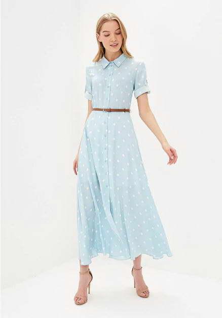 платье макси в горошек ламода